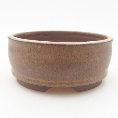 Ceramic bonsai bowl 8.5 x 8.5 x 2.5 cm, brown color - 1