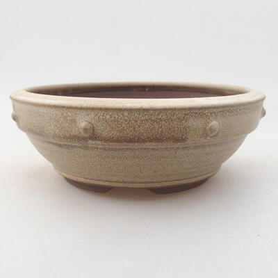 Ceramic bonsai bowl 15 x 15 x 5.5 cm, beige color - 1