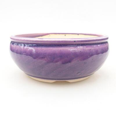 Ceramic bonsai bowl 14 x 14 x 6 cm, color purple - 1