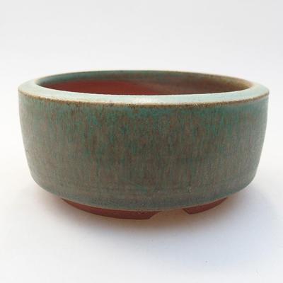 Ceramic bonsai bowl 10 x 10 x 4.5 cm, color green - 1