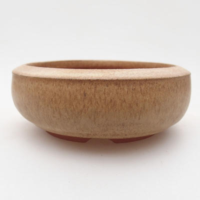 Ceramic bonsai bowl 10 x 10 x 4 cm, beige color - 1