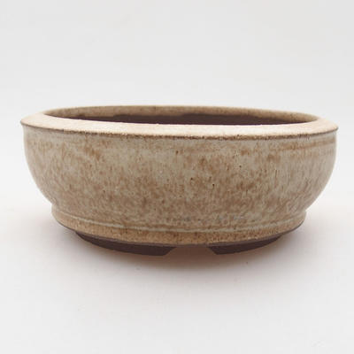 Ceramic bonsai bowl 10.5 x 10.5 x 4 cm, beige color - 1