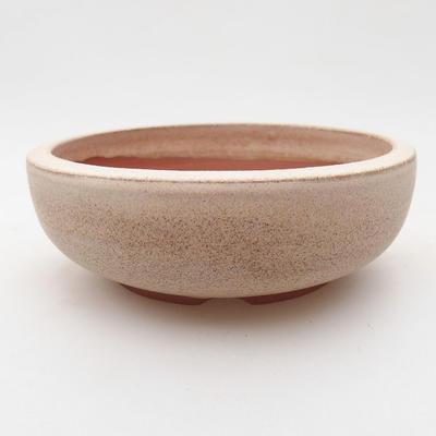 Ceramic bonsai bowl 11.5 x 11.5 x 4 cm, beige color - 1