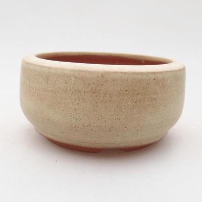 Ceramic bonsai bowl 9 x 9 x 4.5 cm, beige color - 1