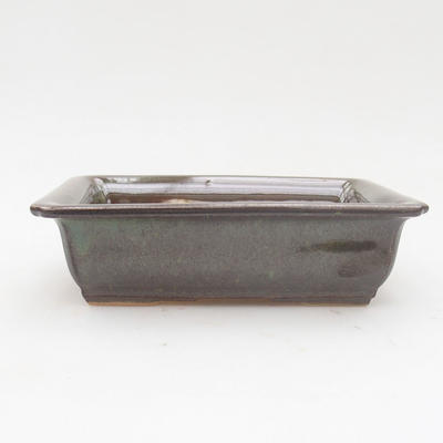 Ceramic bonsai bowl 14 x 10.5 x 4 cm, gray-green color - 1