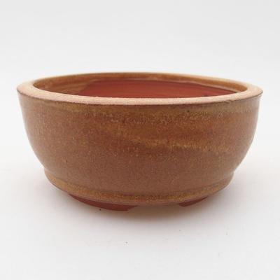 Ceramic bonsai bowl 9.5 x 9.5 x 4 cm, brown color - 1
