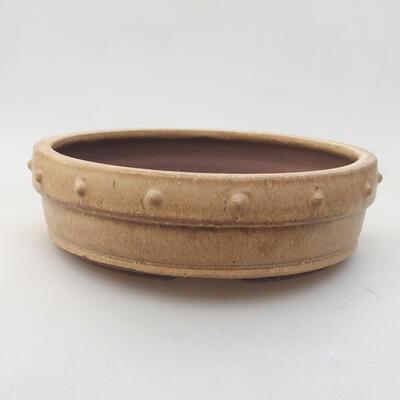 Ceramic bonsai bowl 18 x 18 x 5 cm, beige color - 1