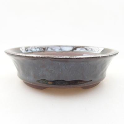 Ceramic bonsai bowl 10.5 x 10.5 x 3 cm, color green - 1