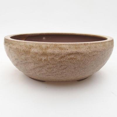 Ceramic bonsai bowl 16 x 16 x 5.5 cm, beige color - 1
