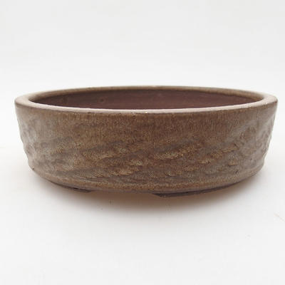 Ceramic bonsai bowl 15.5 x 15.5 x 4.5 cm, brown color - 1