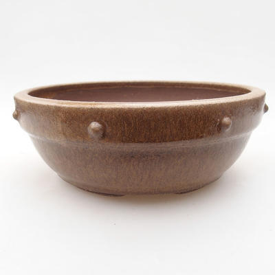 Ceramic bonsai bowl 15.5 x 15.5 x 5.5 cm, brown color - 1