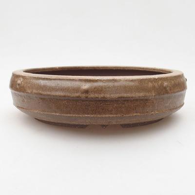 Ceramic bonsai bowl 19.5 x 19.5 x 5.5 cm, brown color - 1