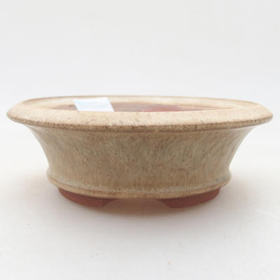 Ceramic bonsai bowl 11.5 x 11.5 x 3.5 cm, beige color - 1