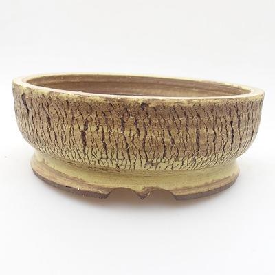 Ceramic bonsai bowl 16 x 16 x 5 cm, yellow color - 1