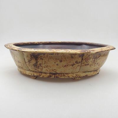 Ceramic bonsai bowl 31 x 28 x 7.5 cm, color yellow-brown - 1