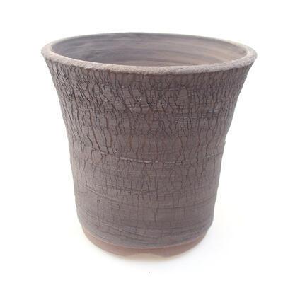 Ceramic bonsai bowl 14 x 14 x 13 cm, gray color - 1
