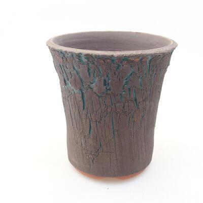 Ceramic bonsai bowl 12.5 x 12.5 x 13.5 cm, color green - 1