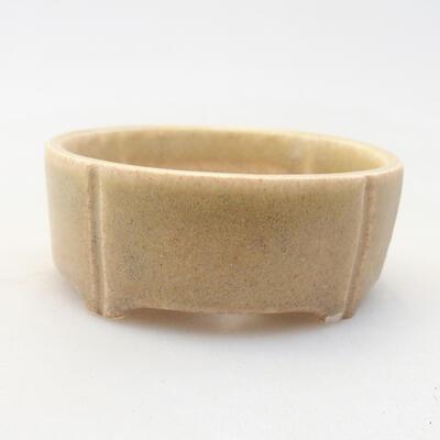 Mini bonsai bowl 6.5 x 6.5 x 2.5 cm, beige color - 1