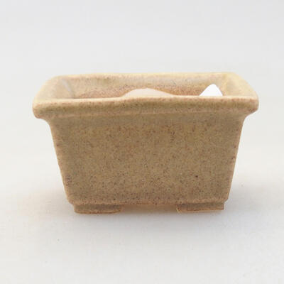 Mini bonsai bowl 4 x 3 x 2 cm, beige color - 1