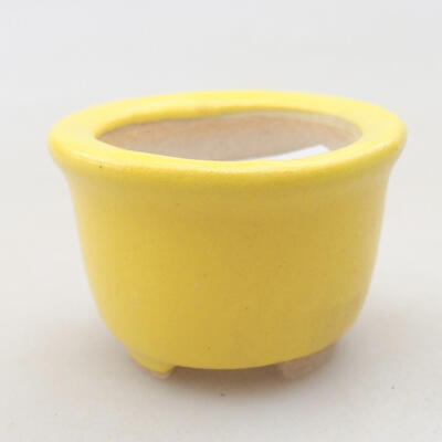 Mini bonsai bowl 3.5 x 3.5 x 2.5 cm, yellow color - 1