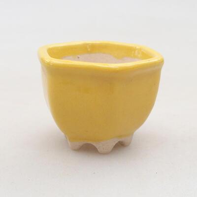 Mini bonsai bowl 3.5 x 3.5 x 3 cm, yellow color - 1
