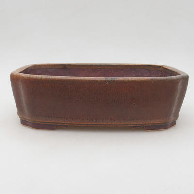 Ceramic bonsai bowl 20.5 x 17.5 x 6 cm, brown color - 1