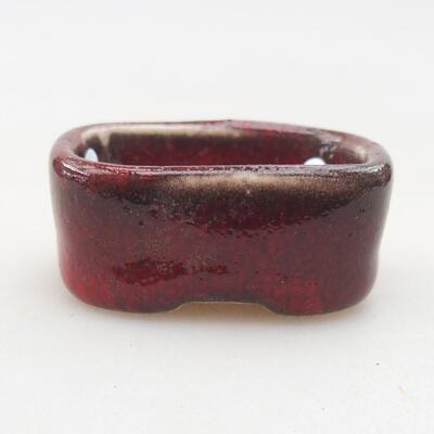 Mini bonsai bowl 4 x 3 x 1.5 cm, color red - 1