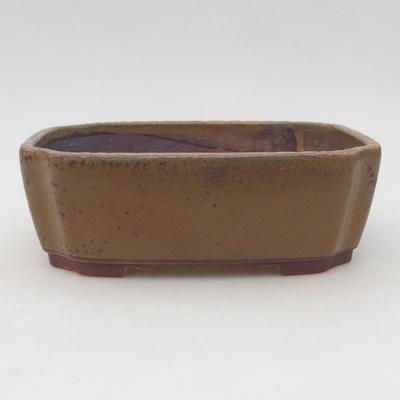 Ceramic bonsai bowl 17 x 14.5 x 6 cm, brown color - 1