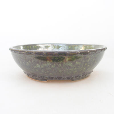 Ceramic bonsai bowl 17.5 x 17.5 x 5 cm, color green - 1
