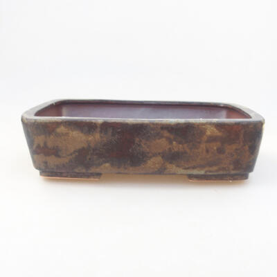 Ceramic bonsai bowl 25.5 x 19 x 6 cm, brown color - 1
