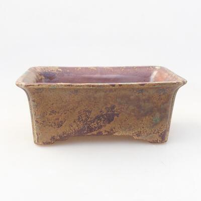 Ceramic bonsai bowl 17.5 x 14 x 7 cm, brown color - 1