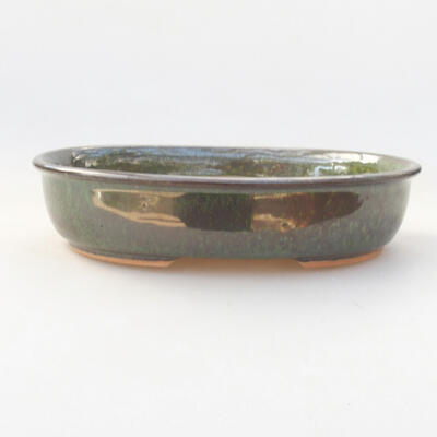 Ceramic bonsai bowl 21 x 16.5 x 4.5 cm, color green - 1