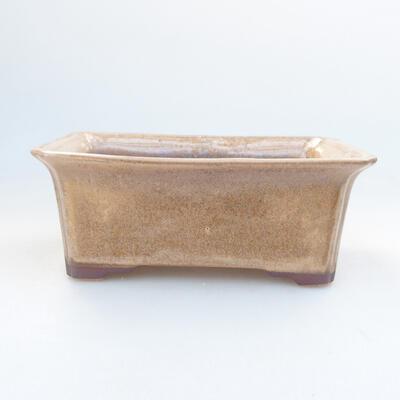Ceramic bonsai bowl 17.5 x 14 x 6.5 cm, brown color - 1