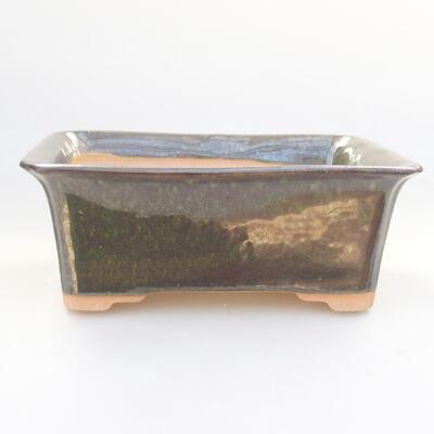 Ceramic bonsai bowl 17.5 x 14 x 6.5 cm, color green - 1
