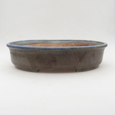 Ceramic bonsai bowl 32 x 27.5 x 7.5 cm, brown-blue color - 1