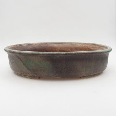 Ceramic bonsai bowl 32 x 27.5 x 7.5 cm, color brown-green - 1