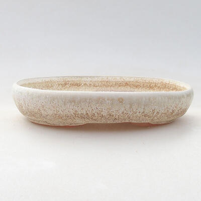 Ceramic bonsai bowl 13 x 9 x 2.5 cm, beige color - 1
