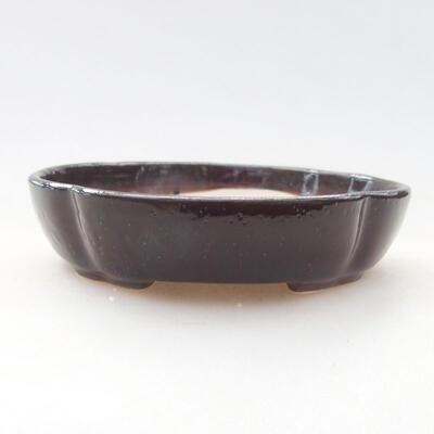 Ceramic bonsai bowl 11 x 11 x 2.5 cm, brown color - 1