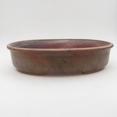 Ceramic bonsai bowl 32 x 27.5 x 7.5 cm, brown color - 1