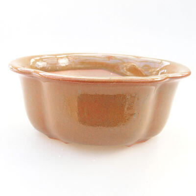 Ceramic bonsai bowl 13 x 10.5 x 5 cm, brown color - 1