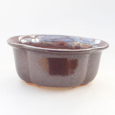 Ceramic bonsai bowl 13 x 11 x 5.5 cm, brown color - 1