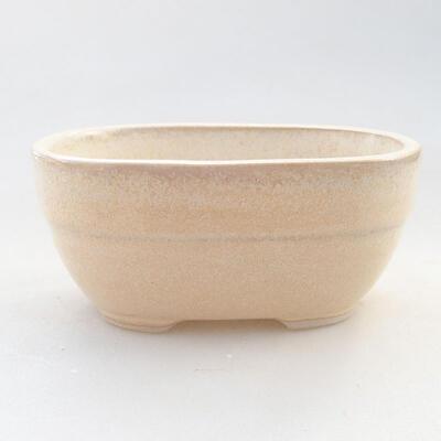 Ceramic bonsai bowl 11.5 x 8 x 5 cm, beige color - 1