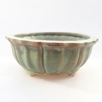 Ceramic bonsai bowl 10.5 x 10.5 x 4.5 cm, color green - 1