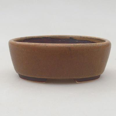 Ceramic bonsai bowl 9.5 x 8.5 x 3.5 cm, brown color - 1