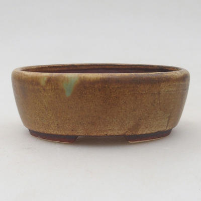 Ceramic bonsai bowl 9.5 x 8.5 x 3.5 cm, color brown-green - 1