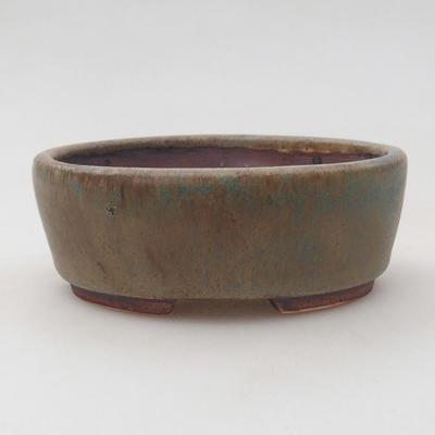 Ceramic bonsai bowl 9.5 x 8.5 x 3.5 cm, brown-blue color - 1