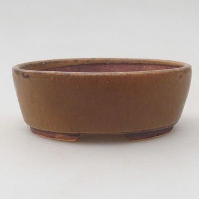 Ceramic bonsai bowl 10 x 8.5 x 3.5 cm, brown color - 1
