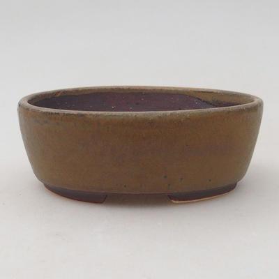 Ceramic bonsai bowl 10 x 8.5 x 3.5 cm, brown color - 1