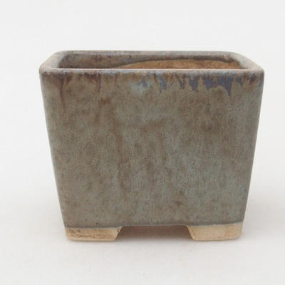 Ceramic bonsai bowl 6.5 x 6.5 x 5 cm, brown-blue color - 1