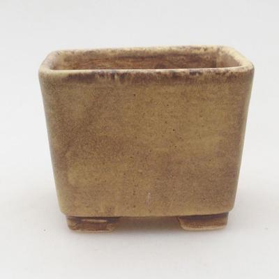 Ceramic bonsai bowl 6.5 x 6.5 x 5 cm, color brown-yellow - 1